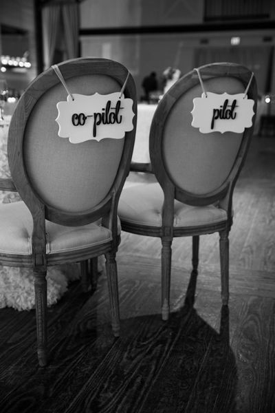 pilot and co-pilot chair signs!  ~  we ❤ this! moncheribridals.com #weddingchairsigns