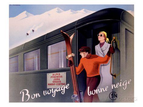 French Alps Railway, Ski Giclée-Druck bei AllPosters.de