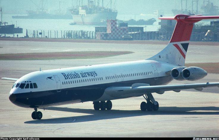 British Airways ('BA') Vickers Super VC10 (Series 1150) G-ASGP (c/n: 866) taxying in after landing at the Hong Kong International Airport (HKG) at Kai Tak in Kowloon, 25 November 1970.