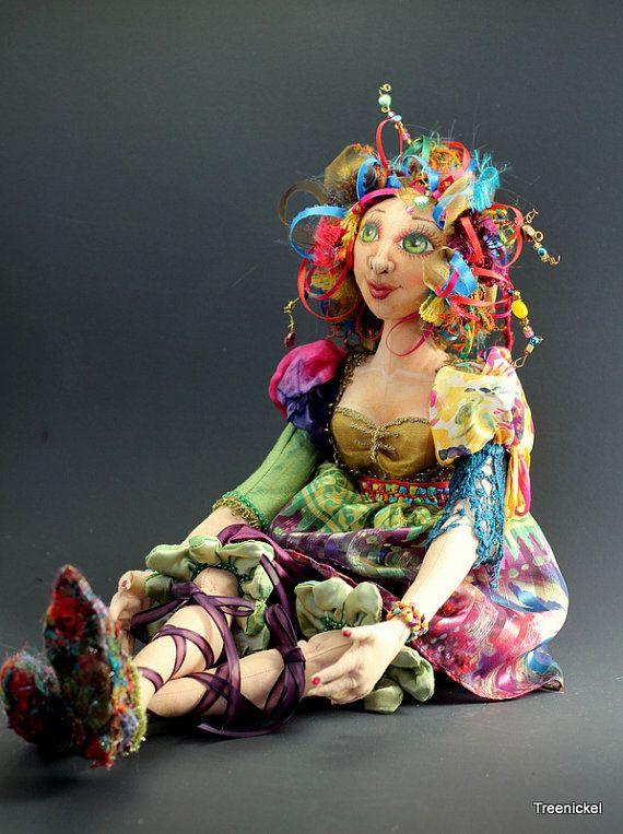 Jewell fantasy cloth art doll by Treenickel on Etsy