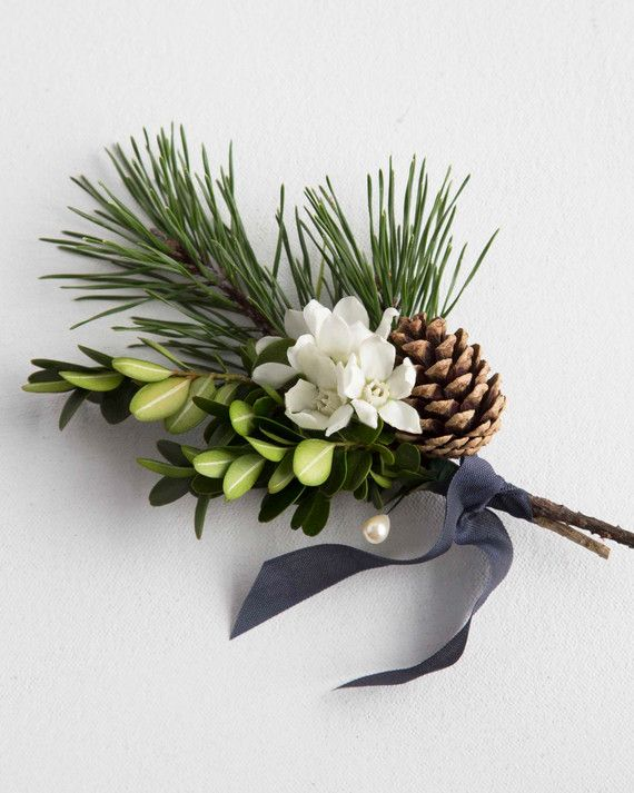 Instantly evoke a festive feeling with a classic combination of boxwood, white tweedia blossoms and a sprig of black pine with its lovely open cone. The seasonal trio pairs well with both rustic and contemporary wedding themes.