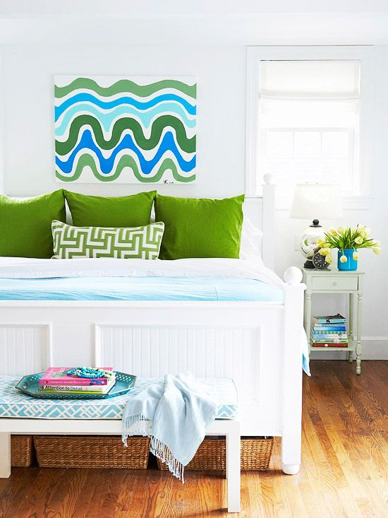 We love the bright blues and greens in this bedroom! More colorful ideas: http://www.bhg.com/decorating/budget-decorating/cheap/cheap-savvy-decor-design-ideas/?socsrc=bhgpin010514refreshyourfurniture&page=9: Bedrooms Colors Schemes, Beds Rooms, Decor Ideas, Green Bedrooms, Bedrooms Design, Blue Green, Kelly Green, Bedrooms Decor, Green Pillows