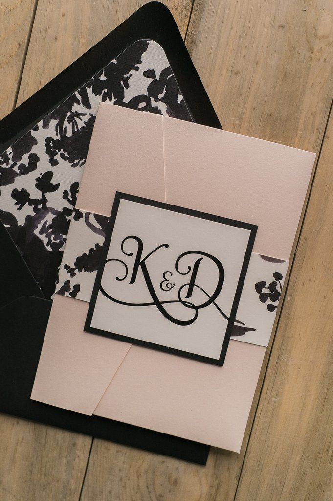 Blush and Black Letterpress Watercolor Floral Wedding