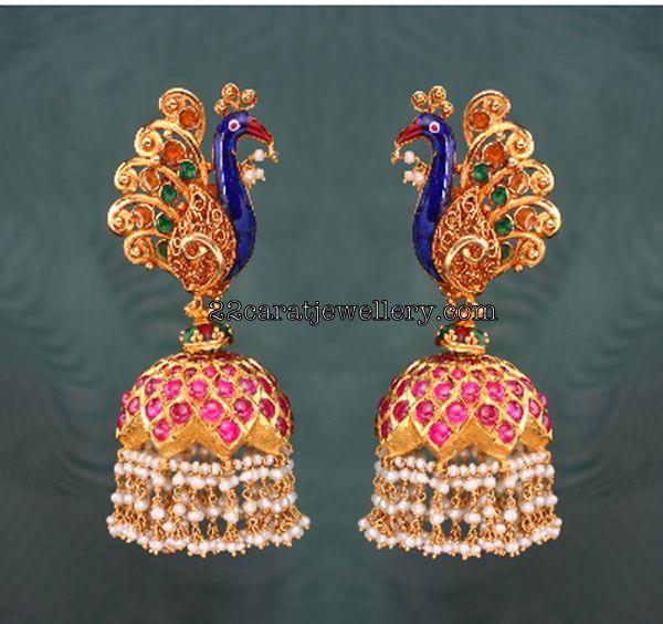 Gold Peacock Earrings with Pearls(heavy Jumkas) Gallery(traditional earrings)
