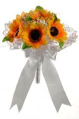 Букет для невесты №25, оранжевый (подсолнухи)