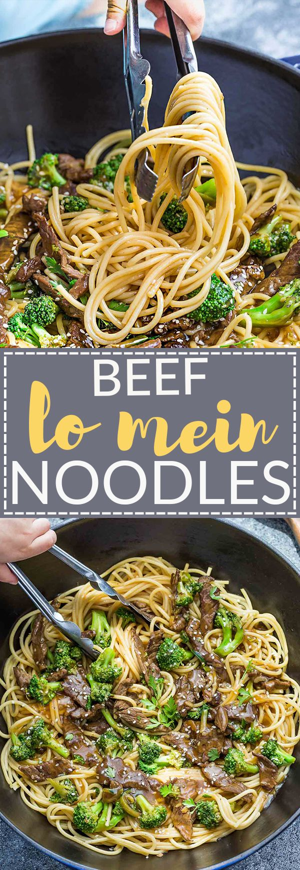 This recipe for Beef Lo Mein Noodles with Broccoli makes the perfect easy weeknight meal. Best of all, this one pot recipe comes together in under 30 minutes and is much healthier and tastier than your local Chinese restaurant takeout! Great for Sunday weekly meal prep for work or school lunchboxes and lunch bowls and super easy to customize with your favorite vegetables and protein!