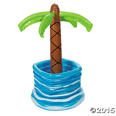 Inflatable Palm Tree in Pool Cooler - Oriental Trading