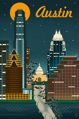 Austin, Texas - Retro Skyline - Lantern Press Poster