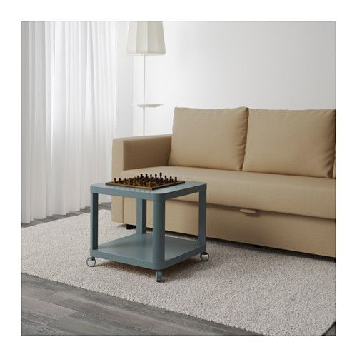 TINGBY Side table on casters, turquoise turquoise 19 5/8x19 5/8