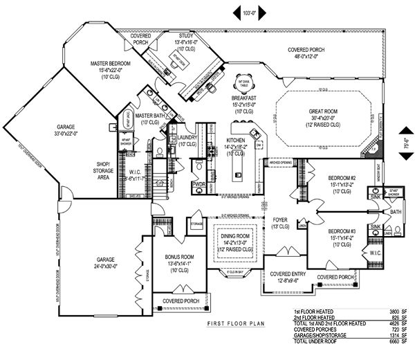 Floorplan onestory with upstairs bonus house plan chp 39022 at house - House plans with bonus rooms upstairs ...