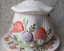 Vintage Arnel Ceramic Soup Tureen with Lid and Large Platter Orange & Brown Crackle Glaze Mushrooms Rustic Woodland Kitchen Dining
