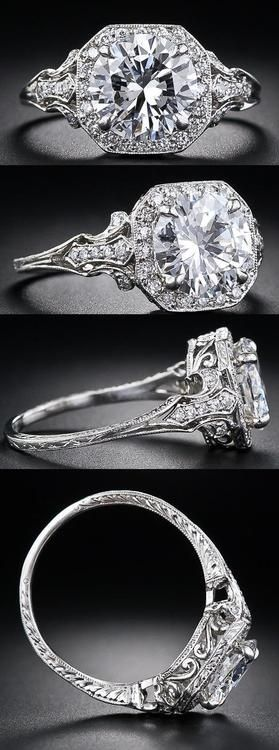 2.17 Carat 'D' color diamond Edwardian style engagement ring at Lang Antiques. Via Diamonds in the Library. Ooolala