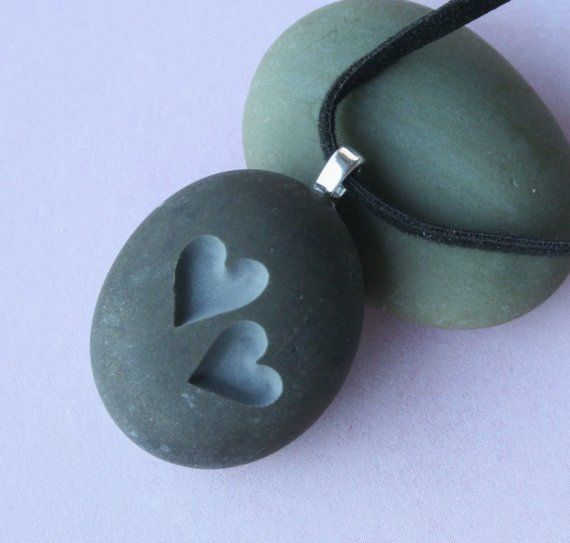 Two Hearts Together  Tiny PebbleGlyph c Pendent  by sjengraving, $20.00