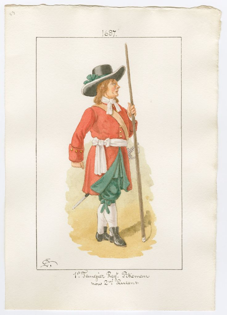 British; 1st Tangier Regiment of Foot, pikeman, 1687 by Charles Lyall.