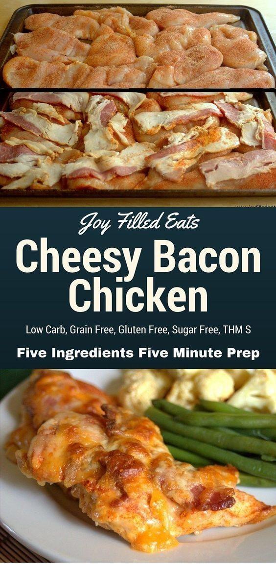 5 Minute 5 Ingredient Cheesy Bacon Chicken | BAKED WAKEANDBITE