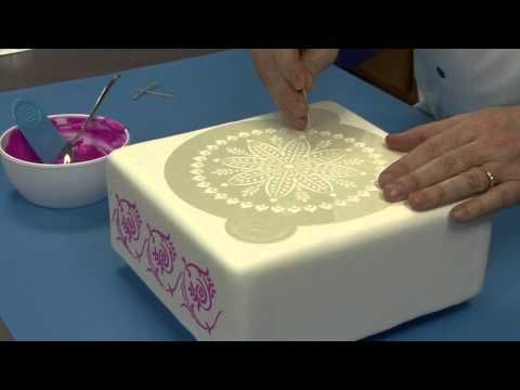How to Stencil a Cake with Royal Icing by Chef Alan Tetreault of Global Sugar Art