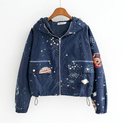 Harajuku universe galaxy hoodie coat colour black navy for Outer space fabric uk