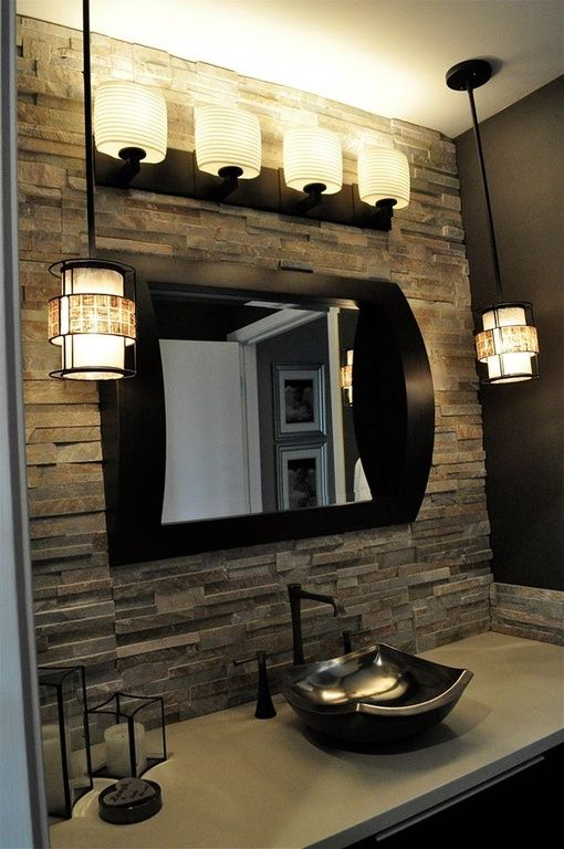 Contemporary Powder Room with wall-mounted above mirror bathroom light, Stone Tile, Custom metal-coated vessel sink, Paint
