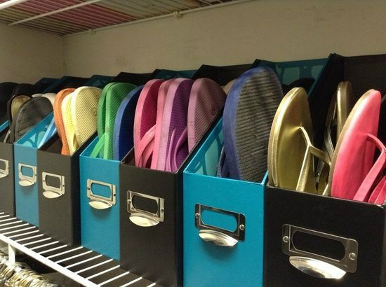 Upcycled Magazine File Shoe Storage - Monica's extra tip is match your flip flops by color!