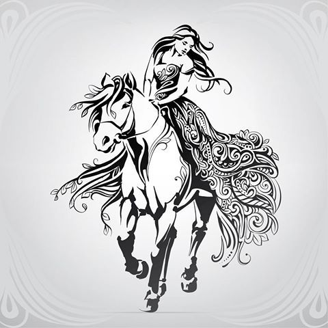 woman on horseback drawing