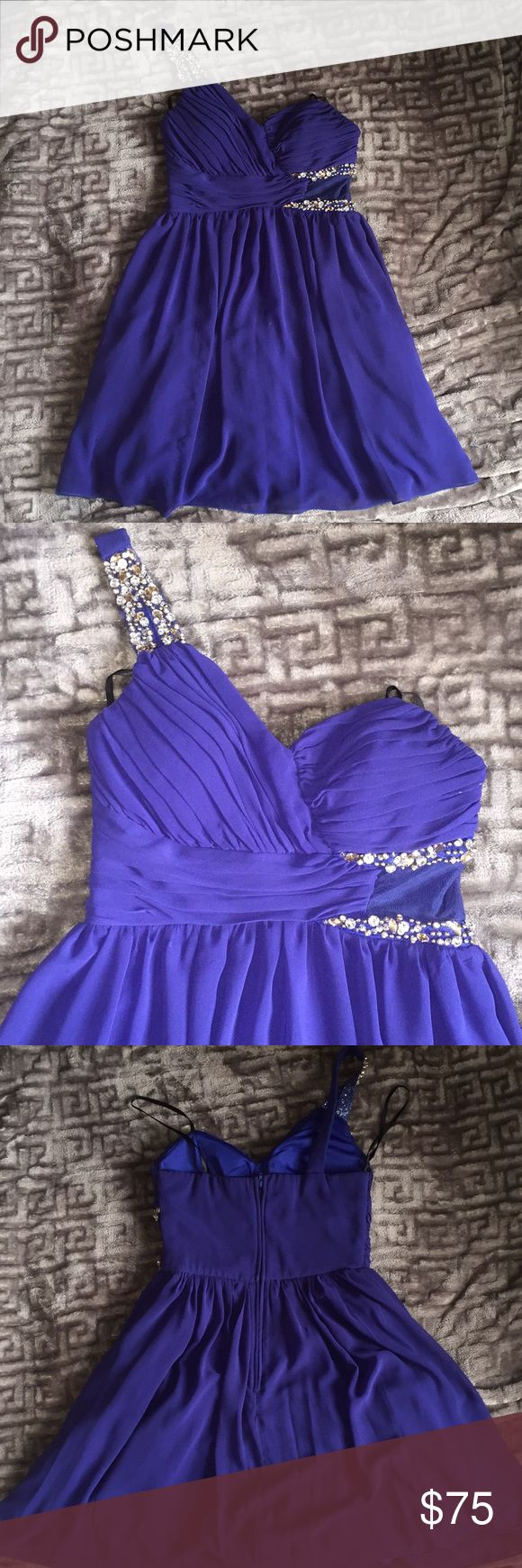 Royal blue one strap dress Royal blue one strap dress with all original gems in tact. One sheer side panel between beading. Slip and padded bra cups sewn into dress. Worn once, bag kept in closet. Good for formal ocassions, bridesmaid, snowflake, prom, etc. jcpenney Dresses Prom