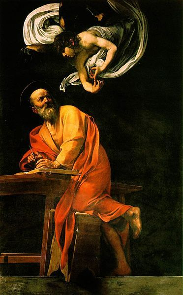 2nd Painting in the series of St. Matthew by Carravagio in San Luigi dei Franseci. (The Inspiration of St. Matthew)