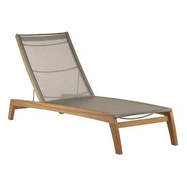 Horizon Teak and Sling Chaise Lounge - FrontGate