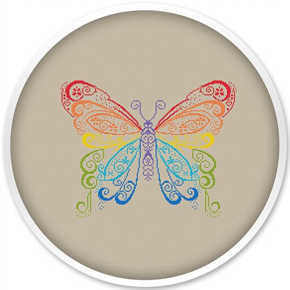 Rainbow Butterfly Cross Stitch Pattern Free shipping Cross
