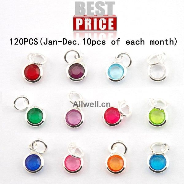 Free shipping 120pcs/lot mixed Birthstone charms 6mm crystal for for Personalized Necklace(Jan-Dec. 10pcs of each month)