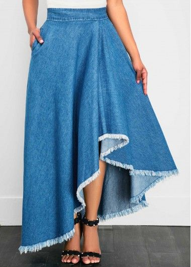 Denim Band Waist Asymmetric Hem Blue Skirt on sale only US$41.53 now, buy cheap Denim Band Waist Asymmetric Hem Blue Skirt at liligal.com
