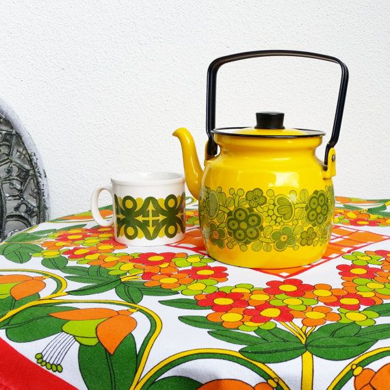 Vintage Finel Arabia yellow green Primavera by scandinavianseance