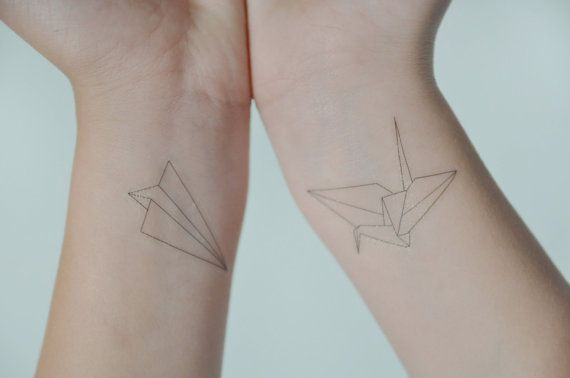 Origami Crane Temporary Tattoo, Temporary Tattoo Set, Paper Aeroplane Temporary Tattoo, Small Temporary Tattoo, Gift Ideas, Birthday Present