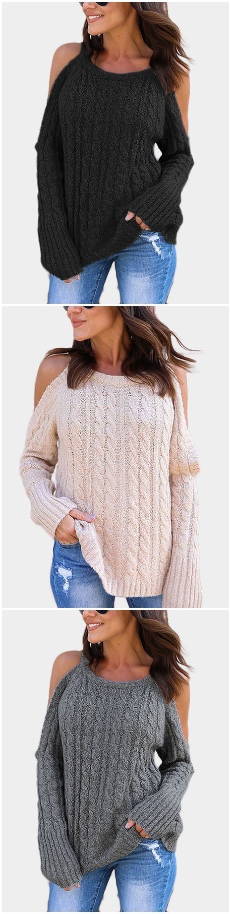 Cable Knit Cold Shoulder Long Sleeves Jumper I like this but could not wear to work.