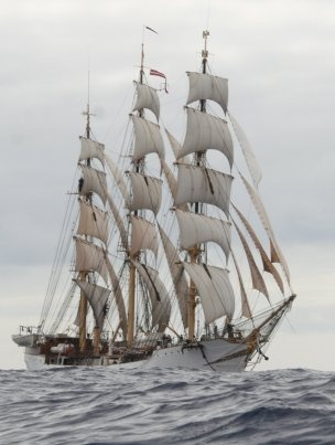 The Danmark, a 76-year-old tall ship