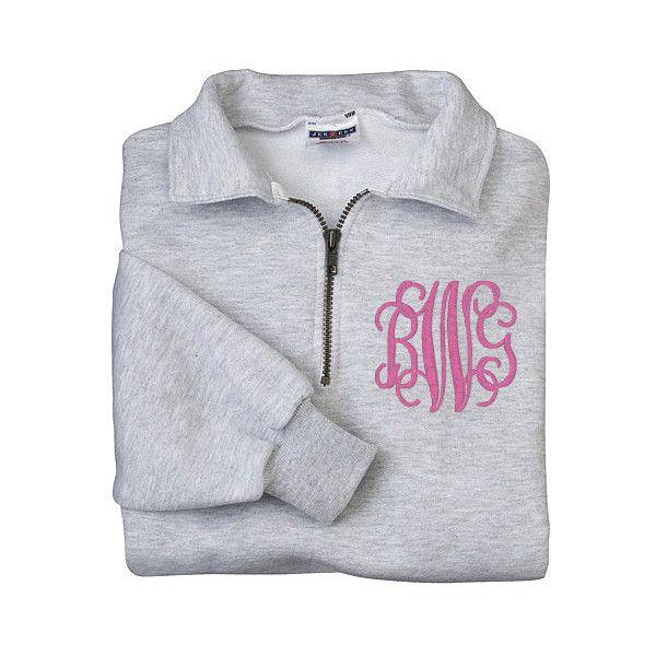 Monogram Sweatshirt Zip Pullover Half Zip Shirt Monogram Fleece Shirt... ($35) ❤ liked on Polyvore