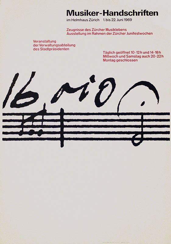 Ruedi Rüegg, Musiker-Handschriften Helmhaus Zürich, 1969