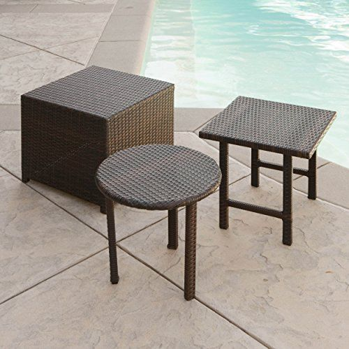 Lakeport Outdoor 3pc Brown Wicker Table Set Great Deal Fu Https