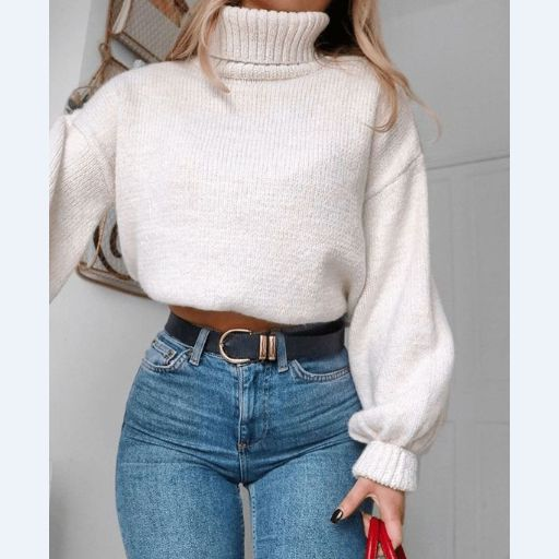 Retro High-Necked Long-Sleeved Knit Sweater