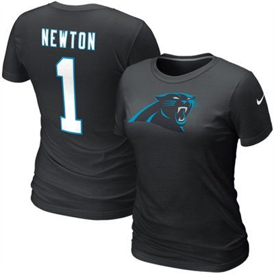 Nike Cam Newton Carolina Panthers #1 Women's Replica Name & Number T-Shirt - Black