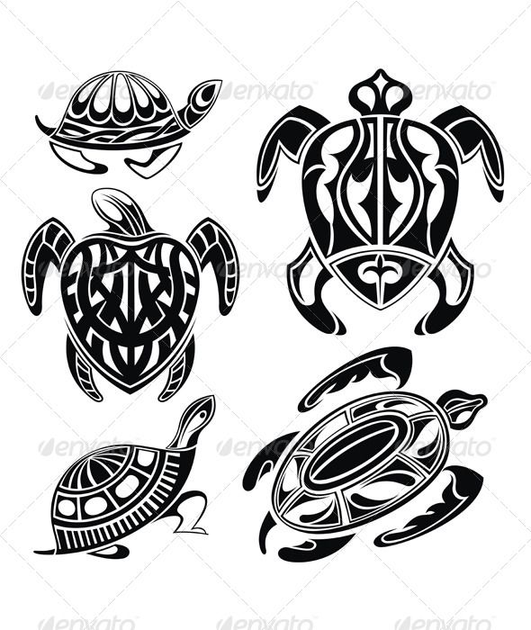 3 Hawaiian Sea Turtle Tattoos | turtle 4486540 stock vector tattoos stylized original symbol tattoo ...