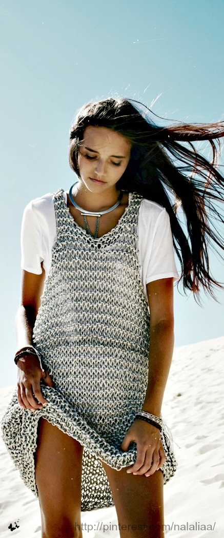 Cute . . . the big chunky knit looks like chainmail. Love the contradiction for summer.