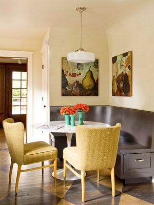 Corner banquet seating - left hand side of door. Move fridge. Pit cover on radiator