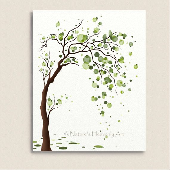 Green Tree Watercolor Art 8 x 10 Print, Love Birds, Tree Illustration, Modern Wall Decor, Circles, Polka Dots (168) on Etsy, $15.00