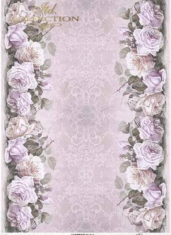Rice Paper Decoupage Scrapbook Craft Romantic Roses 662