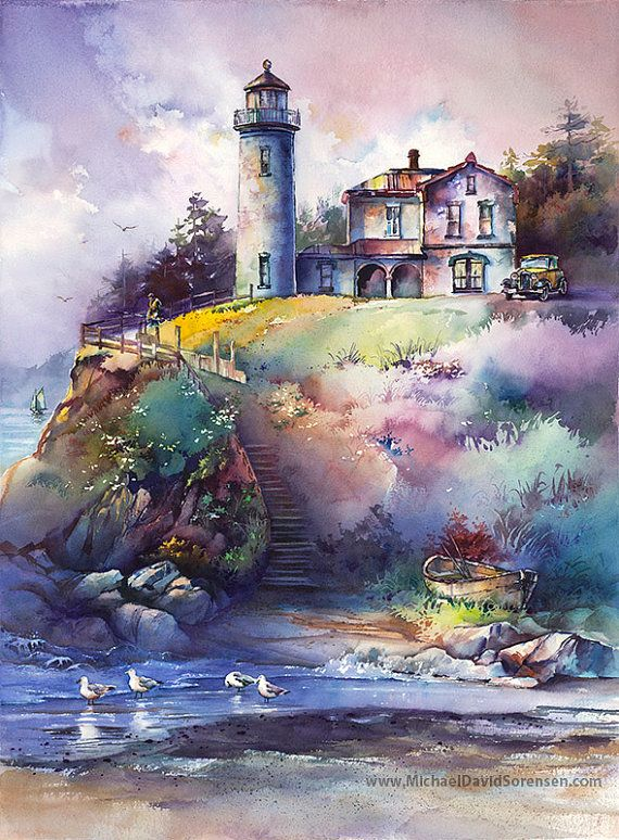 Admiralty Head Lighthouse Watercolor Painting Print - Whidbey Island. Puget Sound, Washington. Pacific Northwest Watercolor Art. Old Car.