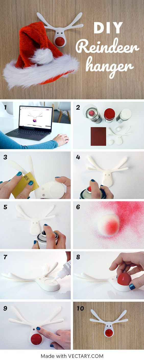 Make your own 3D printed reindeer hanger for Santa (and his helpers). Here is a file you can download and send straight to your 3D printer or order it from Shapeways. You can also customize it, in case you would like a bigger or smaller version.  #christmas #ideas #decoration #deckthehalls #santa #reindeer #rudolph #rednose #hanger #diy #3Dprint #3Dprinted #3D #print #kids
