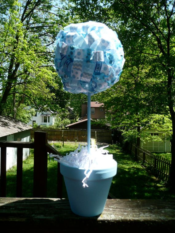 Its a Boy Baby Blue Ribbon Centerpiece Topiary with Baby Blue Clay Pot /Baby Shower Decoration/Gift via Etsy