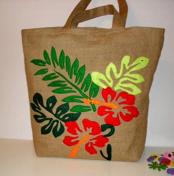 Jute summer tote bag, handmade, hand applique with hibiscus flower, artistic, unique detailed embroidery, resort bag, beach bag