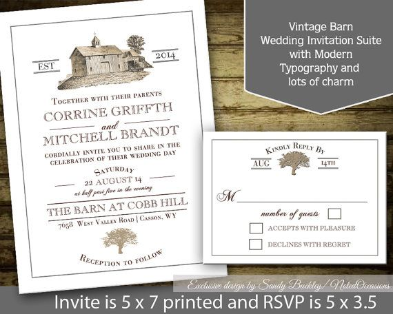 Rustic Wedding Invitation Printable Suite Barn Wedding Template