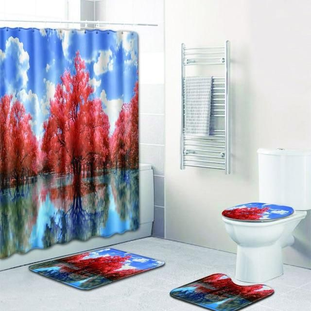 Four Piece Nature Lake Mountain Landscape Shower Curtain And Rugs